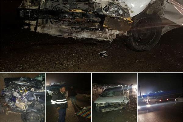 تصادف شاخ به شاخ دو خودرو در هراز، 5 نفر مصدوم شدند