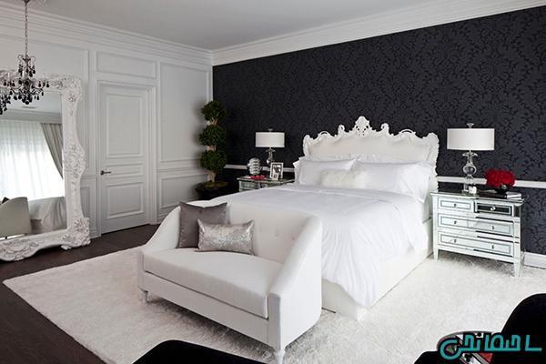 دکوراسیون اتاق خواب با ترکیب رنگ سیاه و سفید