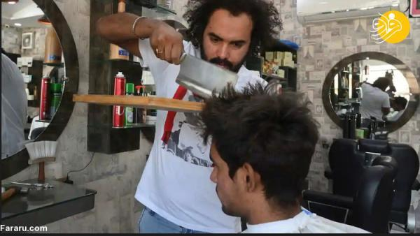 (ویدئو) آرایشگری با ساطور!